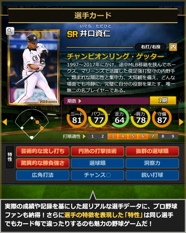 実際の成績や記録を基にした超リアルな選手データに、プロ野球ファンも納得!さらに選手の特徴を表現した「特性」は同じ選手でもカード毎でも違ったりするのも魅力の野球ゲームだ!